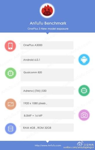 OnePlus 3 tech specs