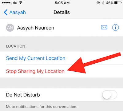 Stop location Sharing