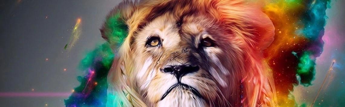 lion face colorful fb cover