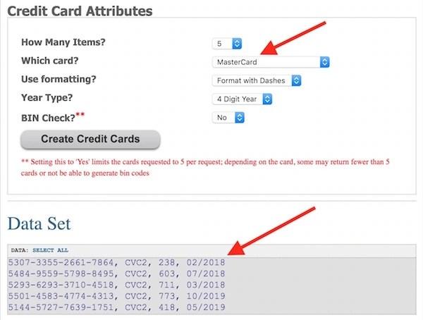 Free Fake Credit Card Numbers Generator Websites