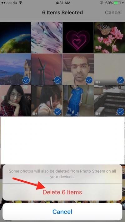 Delete photos and videos on iOS