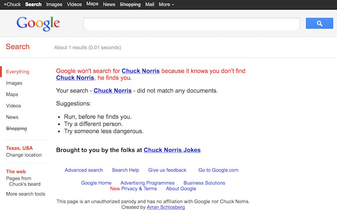 Google Chuck Norris Trick