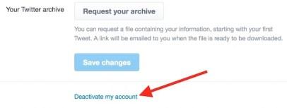 Shut down twitter account