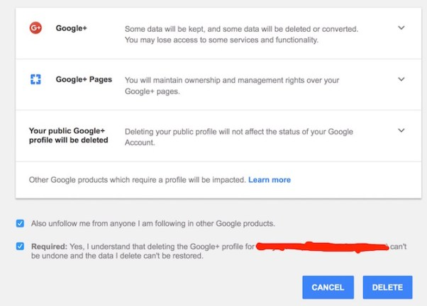 Deleting Google Plus