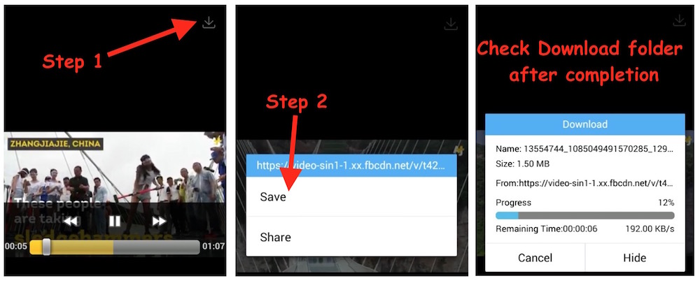 FB Video Download on Android