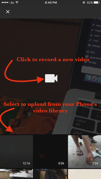 Record a new video or upload a new Video