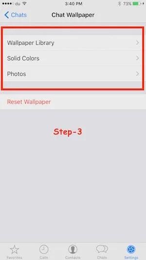 WhatsApp Themes options iPhone