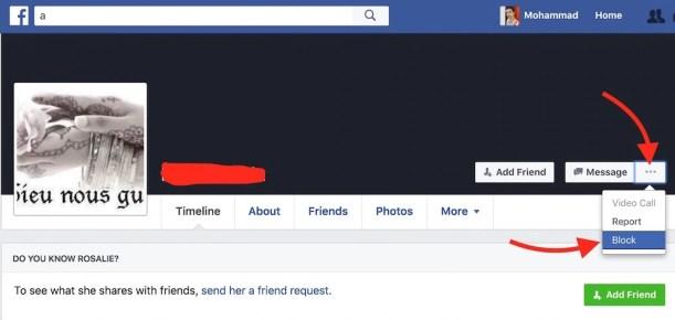 Block a FaceBook User