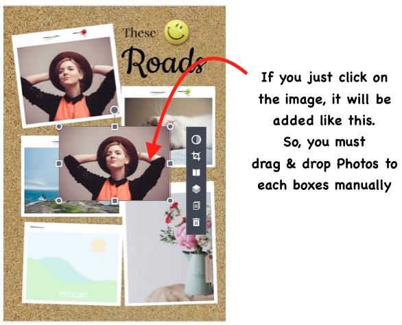Collage creation adding photos