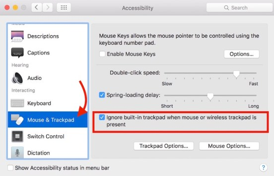 Ignore trackpad input when mouse is connected