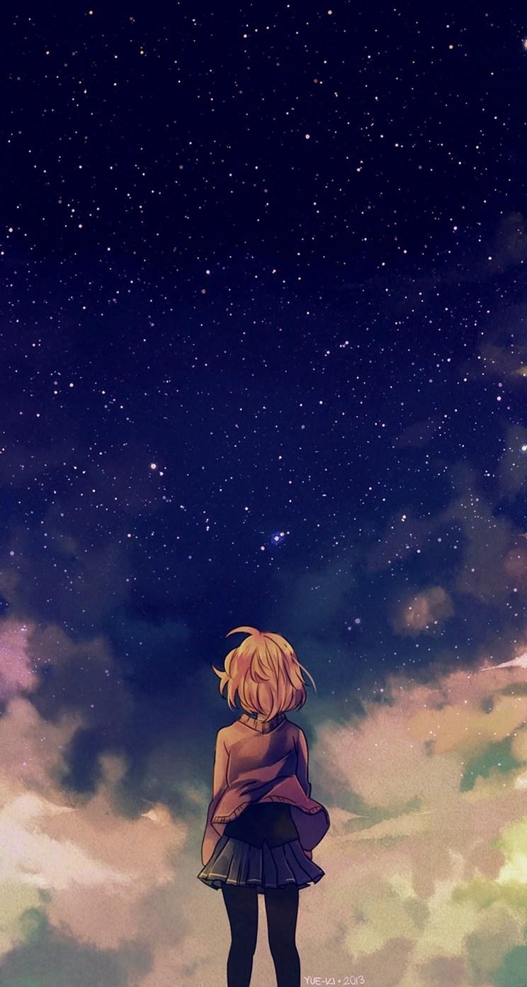 Anime girl sky watch wechat theme