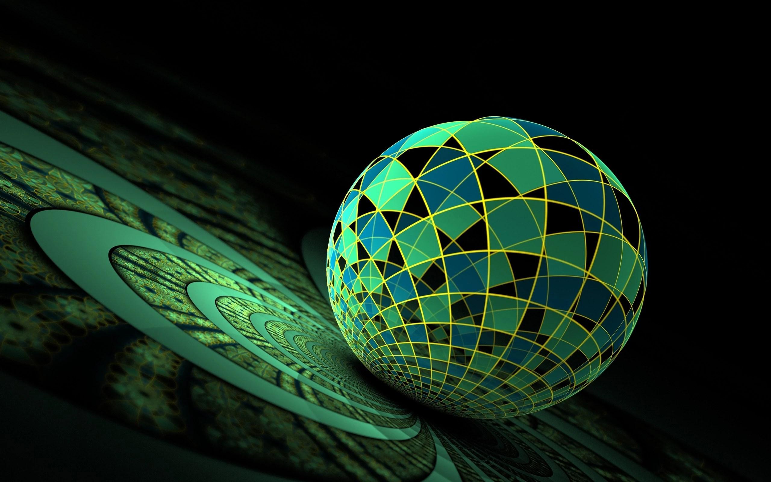Dark green globe mix 3d wallpaper