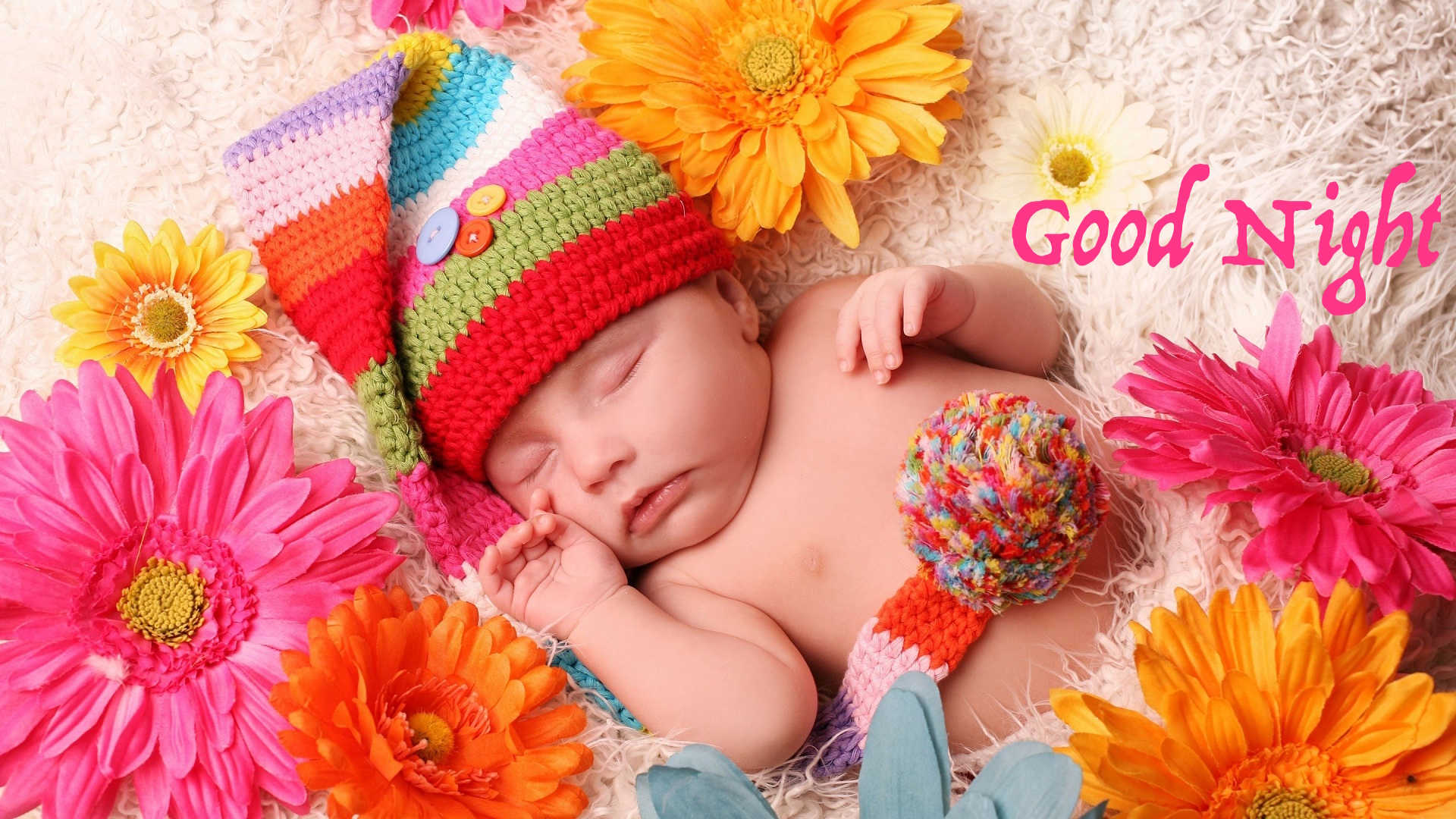Good night baby flowers bed image