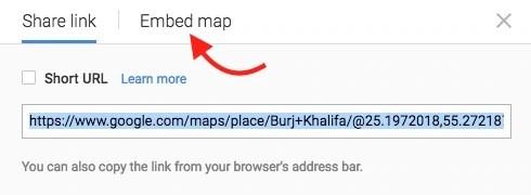 Google Map Embed Option