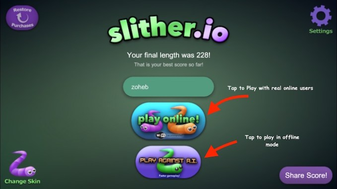 Slither io Snake Game Play online or Download Free App