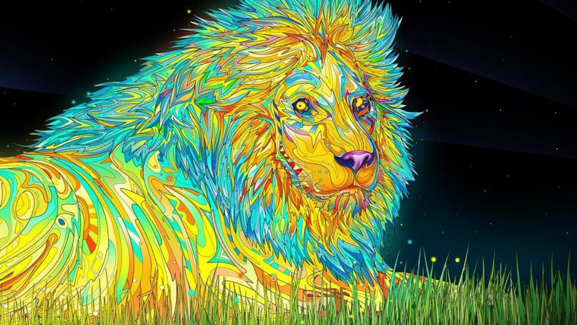 Psychedelic Wallpaper Lion