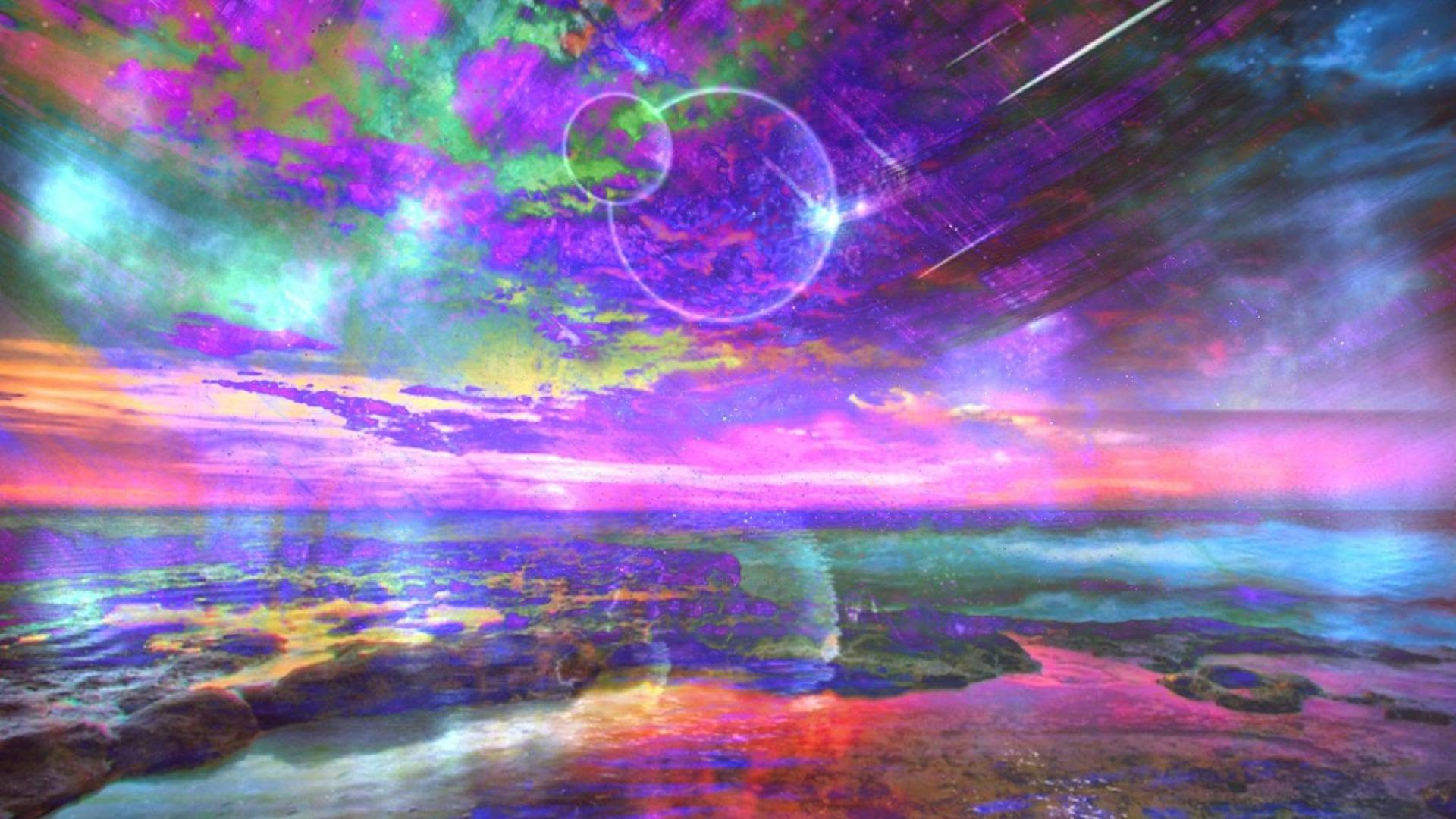 Psychedelic Wallpaper Moon Sky