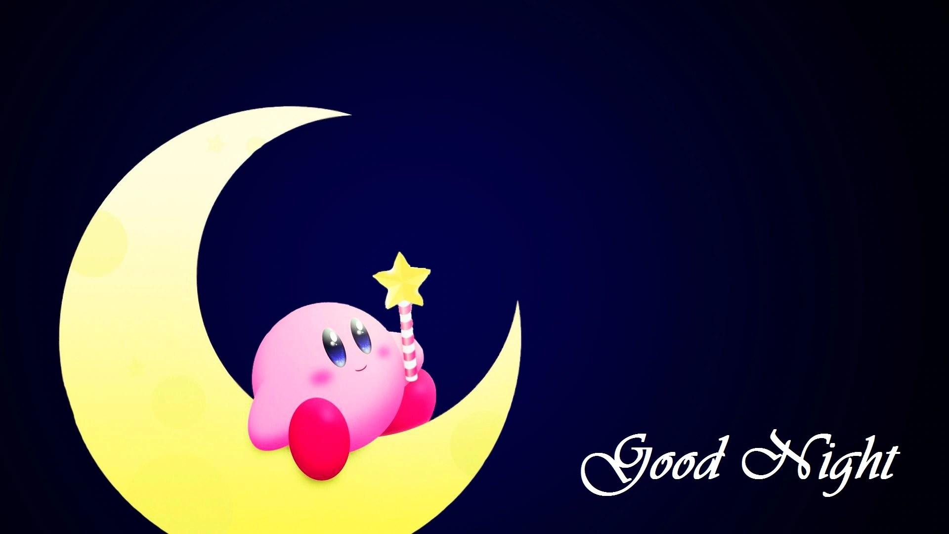 good night cute moon pink image