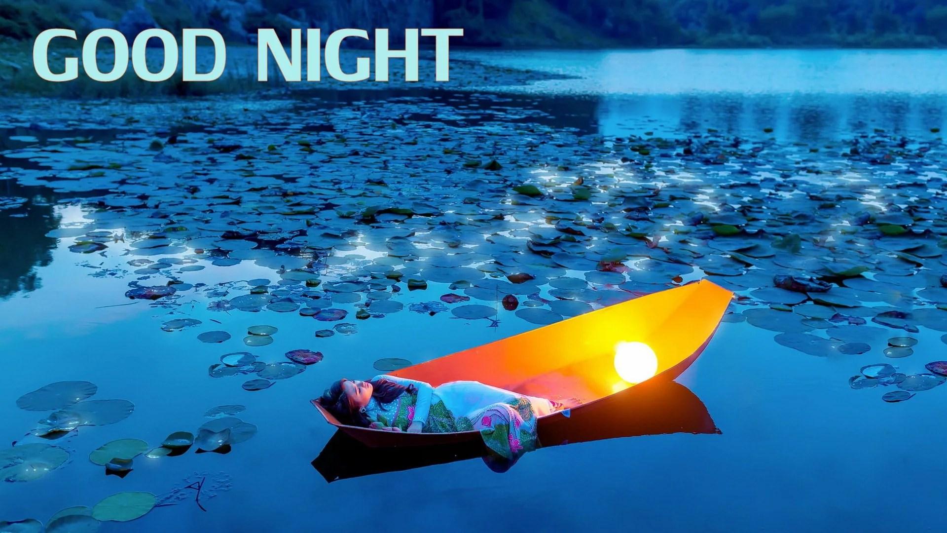 good night lake girl cute image