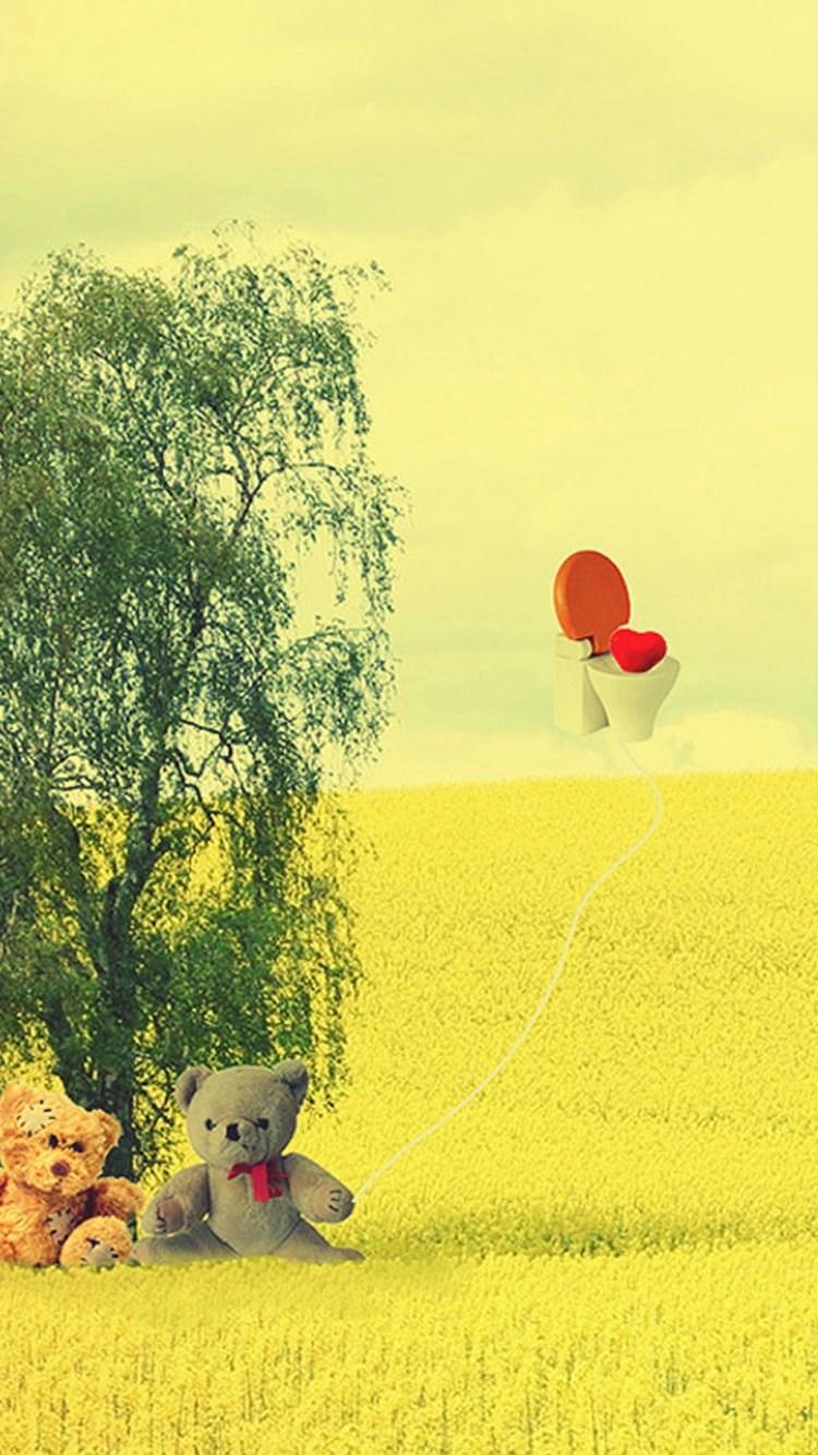 iPhone 7 teddy bear love wallpaper