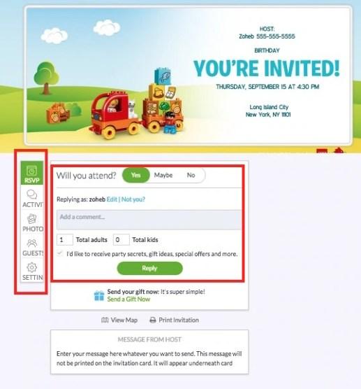 Online Invitation RSVP