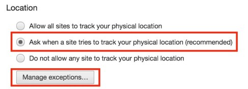 Chrome Location Settings