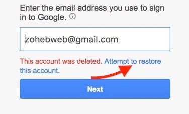 Google Account Recovery Step 1