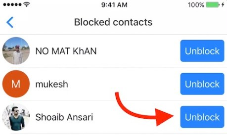 unblock contact now