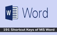 All Shortcuts of Microsoft Word (191 Shortcut Keys) Download in Excel (.xls file)