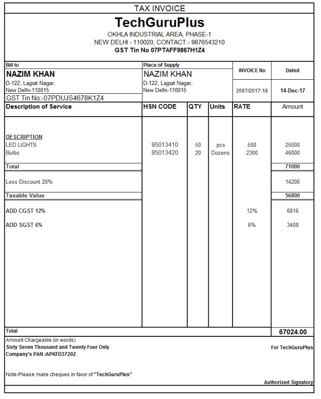 Invoice Format Download Sales Invoice Template In Pdf Format