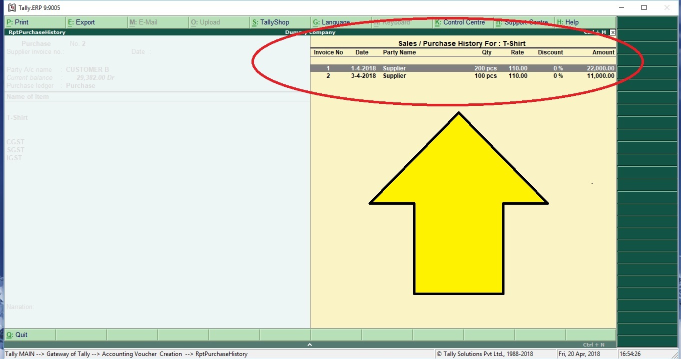 Sales & Purchase Stock Item History TDL for Tally ERP 9