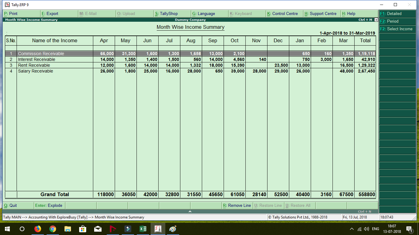 Month Wise Income and Expenses Report TDL for Tally ERP 9