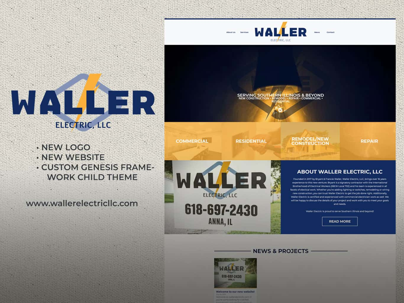 Responsive website & new logo design for Waller Electric, LLC