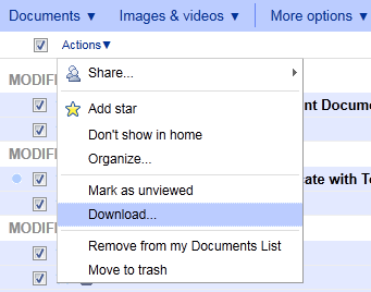 Backup your documents from Google Docs