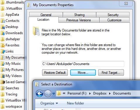 Sync My Documents on your Windows to Dropbox