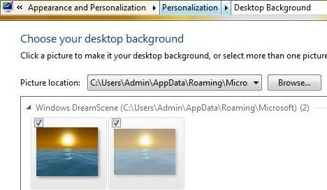 Windows 7 DreamScene is Desktop Background Personalization