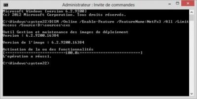 Installation Console CMD Net Framework 3.5
