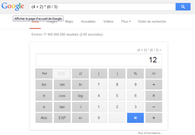 Calculs dans Google