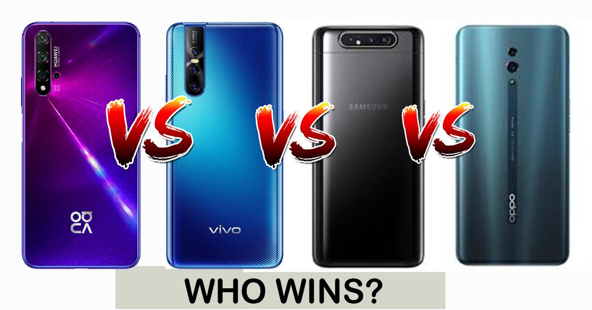 Huawei Nova 5T Vs Samsung A80 Vs Vivo V15 PRO Vs Oppo Reno: Which one Wins?