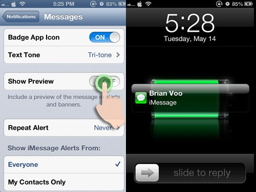 disable message preview on iphone