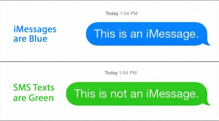 Blue and Green iMessage on Iphone