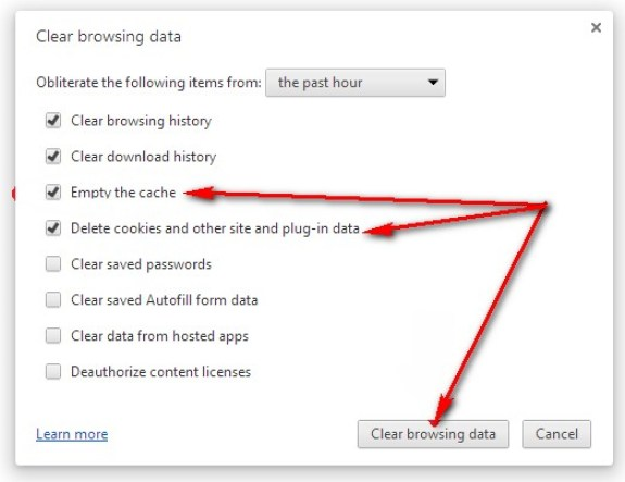 Clear your Browser's Cache & Cookies