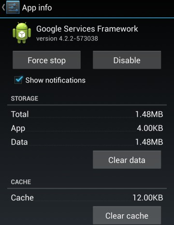 Clear the Google Services Framework Cache and data Unfortunately Google Play Services has Stopped