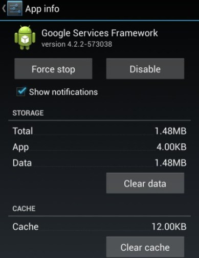 Clear the Google Services Framework Cache and data