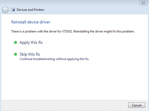 Reinstall the drivers for the device