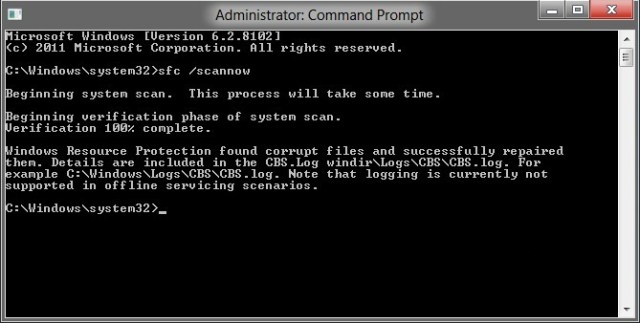 Scanning System Files (sfc/scannow)