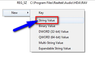 Add a registry key value manually
