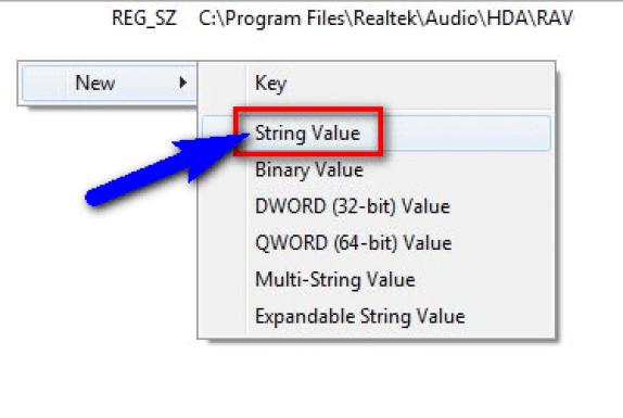 Add a registry key value manually