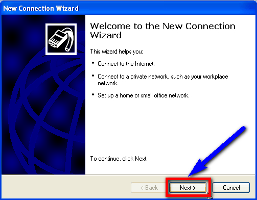 Connect to your ISP New Connection Wizard