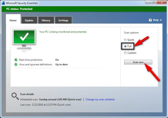 Perform a full PC scan for viruses